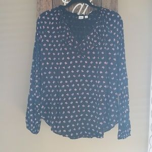 Gap floral swiss dot black maternity top